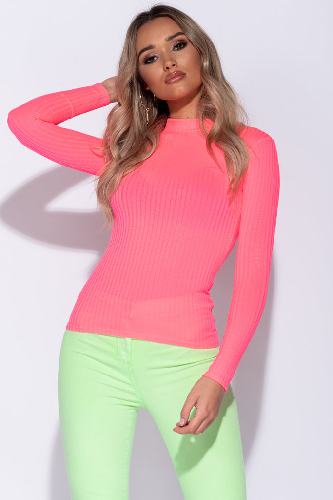 Image: Neon Pink Skinny Rib Knit High Neck Top