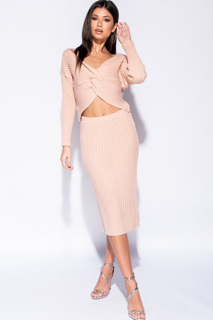Image: Pink Twist Front Rib Knit Co-Ord Set