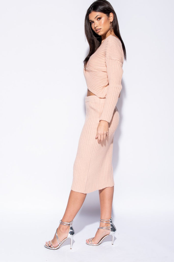Pink Twist Front Rib Knit Co-Ord Set