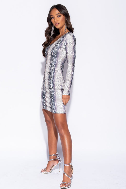 Image: Snake Print One Shoulder Dress