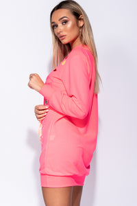 Neon Pink Abstract Print Distressed Oversized Jumper Dress