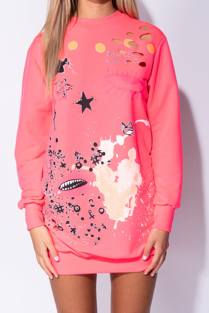 Image: Neon Pink Abstract Print Distressed Oversized Jumper Dress