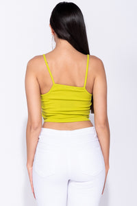 07e2a0e20ced2 ... Lime Green Rib Knit Cami Style Crop Top ...