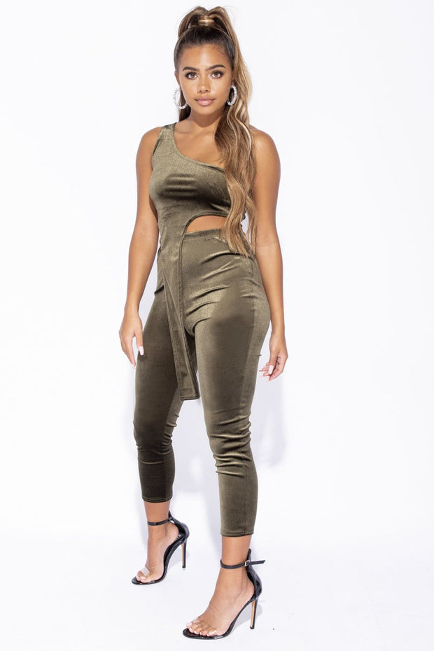 Image: Khaki Velvet One Shoulder Top & Cropped Leggings