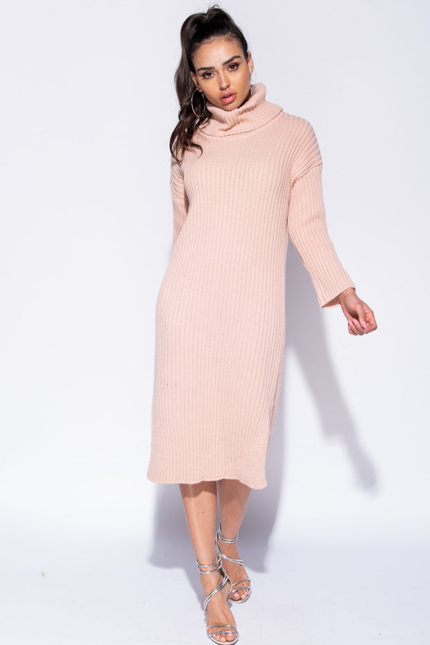Image: Pink Rib Knit Turtleneck Jumper Dress