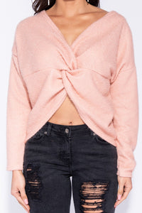 Pink Metallic Knit Twist Front Jumper