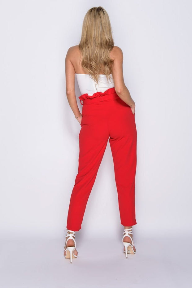 Image: Red Paperbag Waist Belted Crop Trousers - Parisian-uk