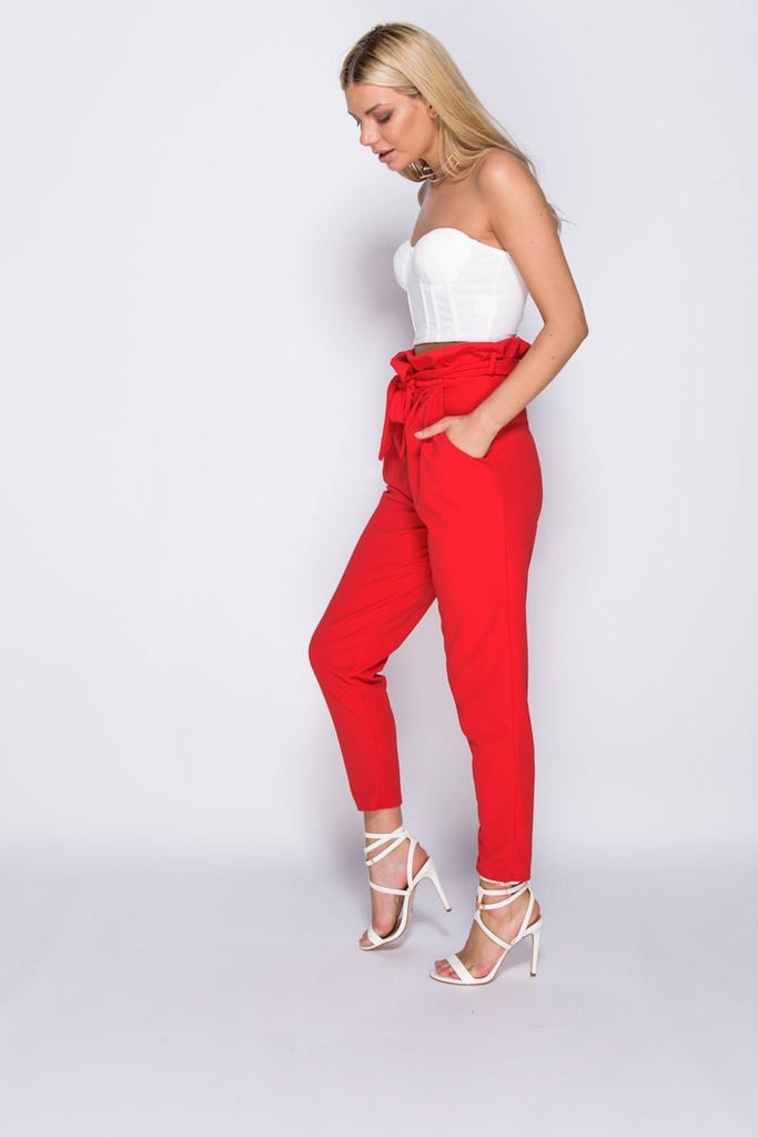 Red Paperbag Waist Belted Crop Trousers