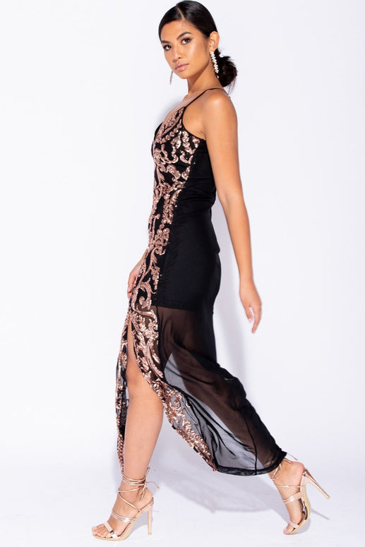 Image: Black Baroque Sequin Thigh Split Sheer Maxi Dress - Parisian-uk