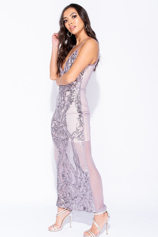 Image: Lilac Sequin Front Wrapover Front Maxi Dress - Parisian-uk