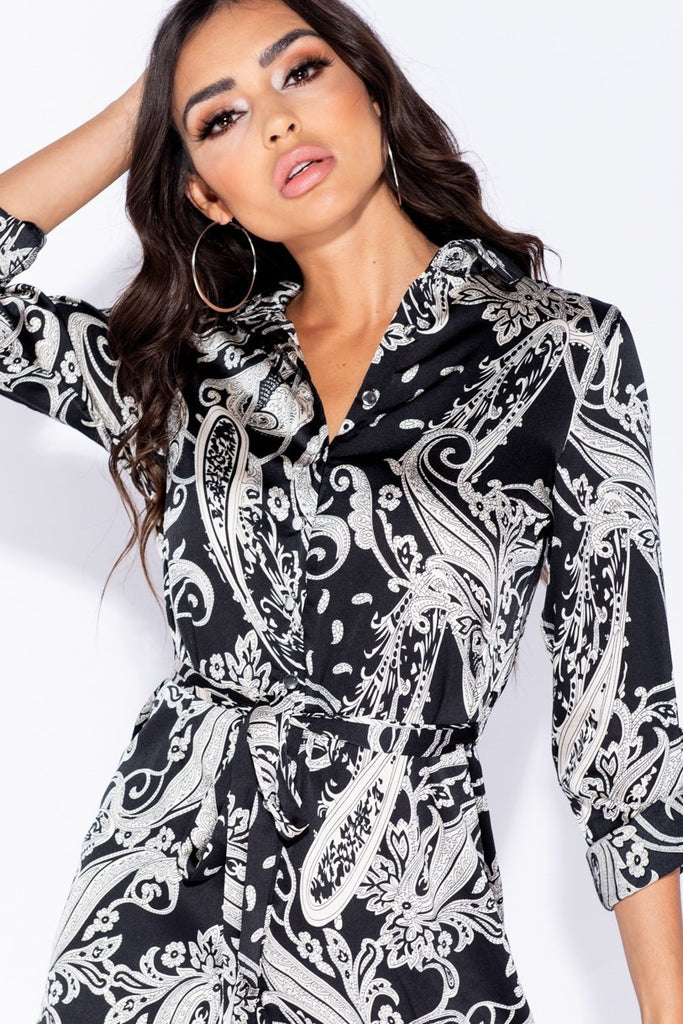 Black Paisley Print Waist Tie Shirt Dress - Parisian-uk
