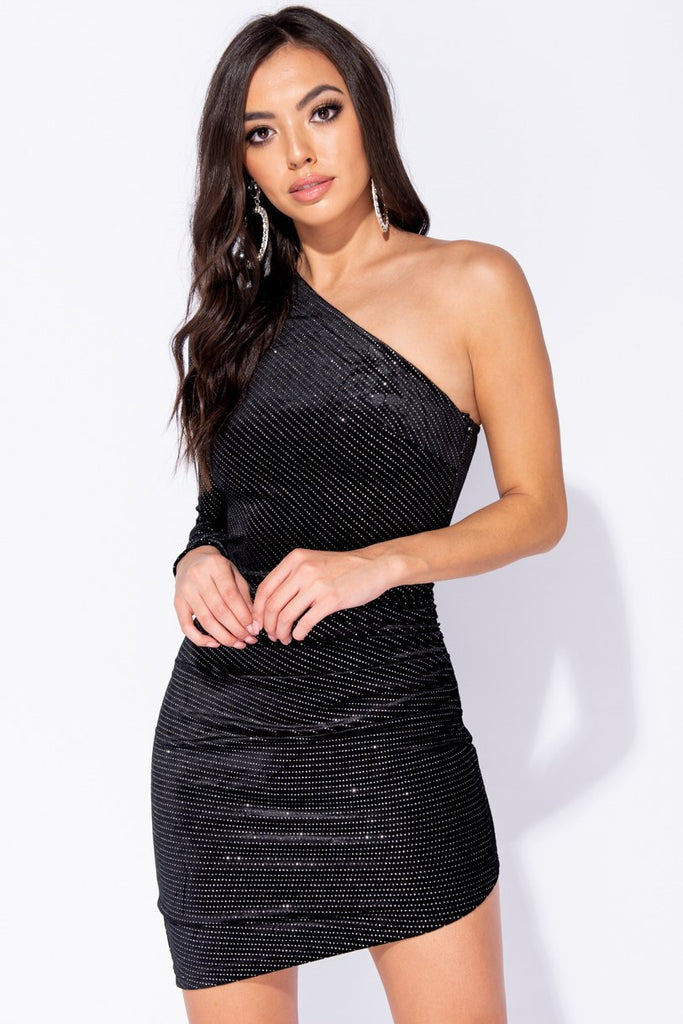 Image: Black Velvet Glitter Asymmetric One Shoulder Bodycon Dress - Parisian-uk
