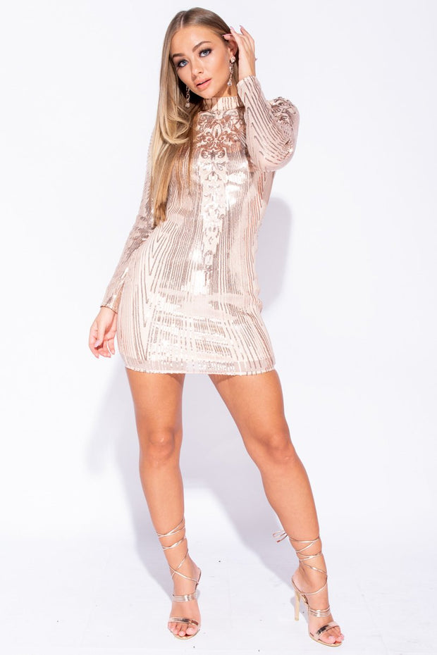 Image: Nude Sequin High Neck Long Sleeve Bodycon Mini Dress