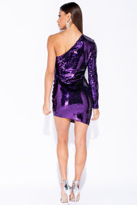 Purple Sequin One Shoulder Asymmetric Bodycon Mini Dress