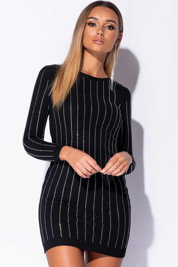 Image: Black Diamante Stripe Trim Bodycon Dress