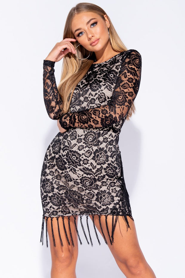 Image: Black Lace Tassel Hem Sheer Sleeve Bodycon Dress