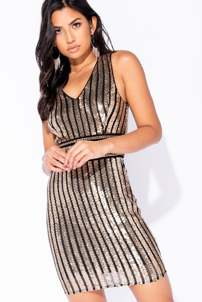 Image: Black Sequin Stripe V-Neck Bodycon Mini Dress - Parisian-uk