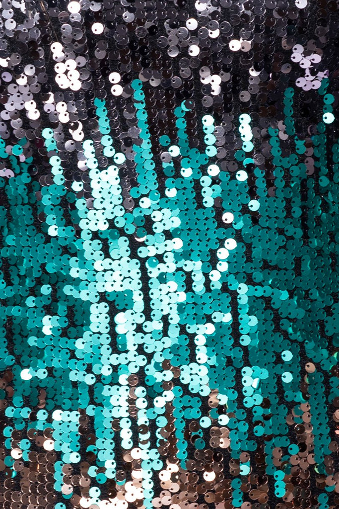 Black Green Multi Colour Sequin V Neck Bodycon Dress - Parisian-uk