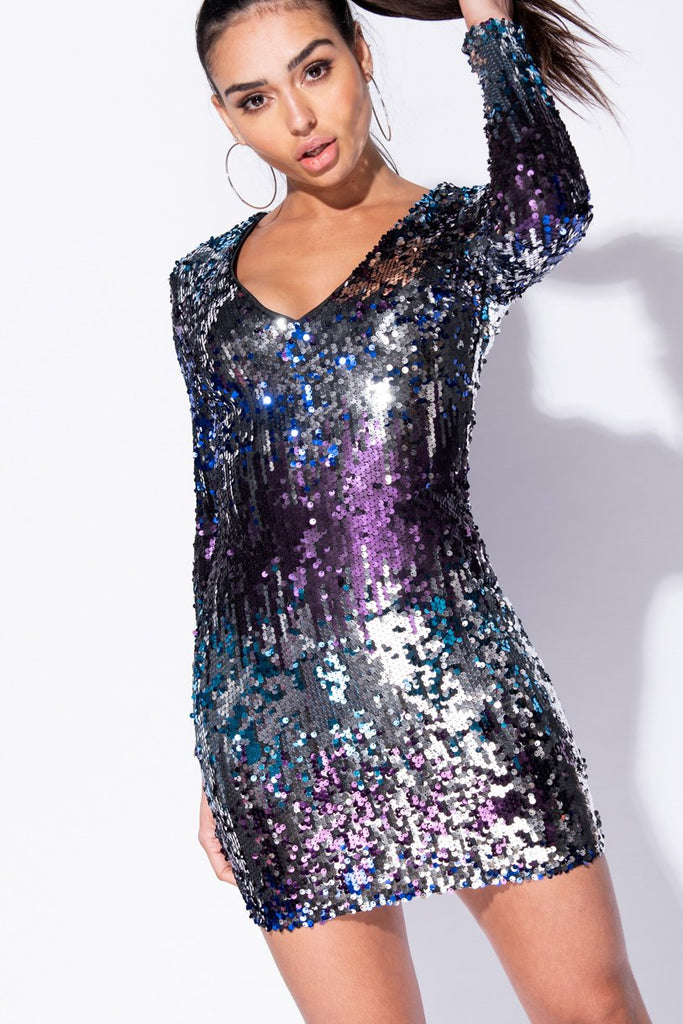Black Purple Multi Colour Sequin V Neck Bodycon Dress - Parisian-uk