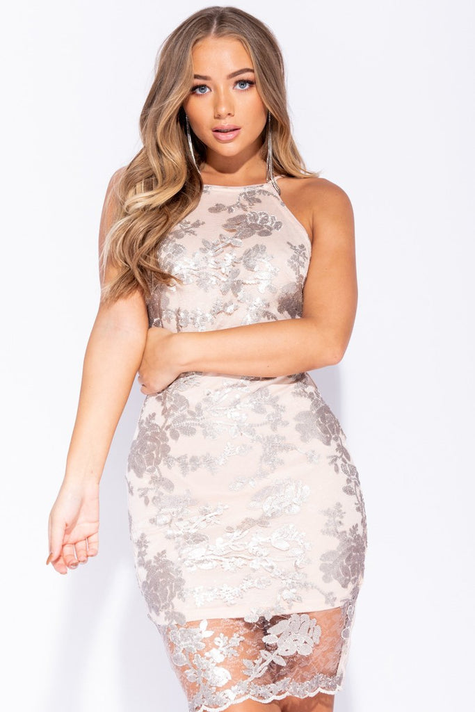 Grey Nude Floral Sequin Front Sleeveless Bodycon Midi Dress - Parisian-uk