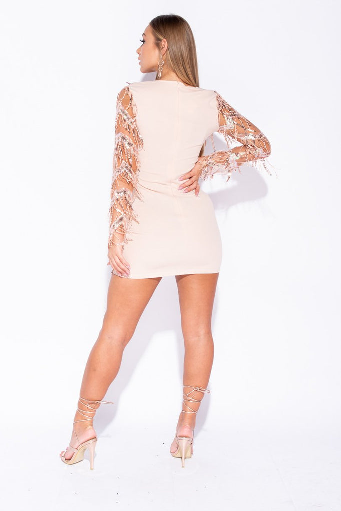 Rose Gold Dangling Sequin Long Sleeve Bodycon Mini Dress