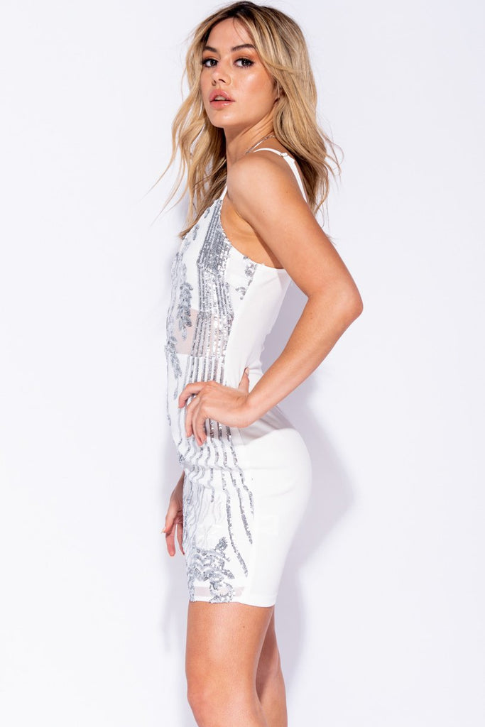 White Silver Sequin Front Mesh Panel Bodycon Cami Dress