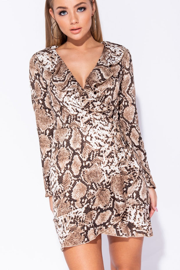 Image: Brown Snake Print Frill Detail Wrap Front Mini Dress - Parisian-uk