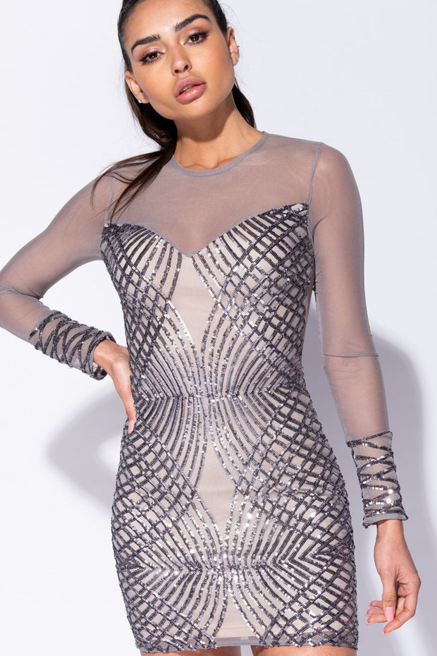Image: Grey Geometric Sequin Front Mesh Sleeve Bodycon Dress