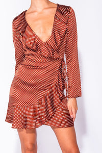 Rust Polka Dot Satin Wrapover Dress