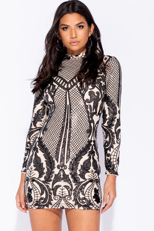 Image: Nude Black Baroque Sequin High Neck Bodycon Dress