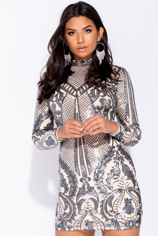 Image: Nude Pewter Baroque Sequin High Neck Bodycon Dress