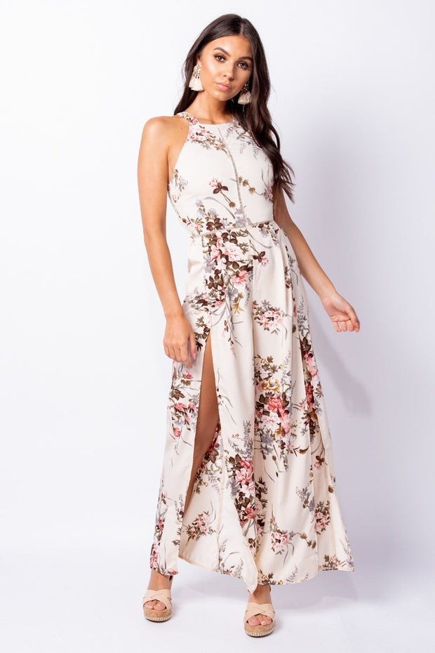 Image: Cream Floral Thigh Split Wide Leg Tie Back Jumpsuit - Parisian-uk