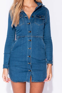 Mid Blue Long Sleeve Button Front Stretch Denim Dress