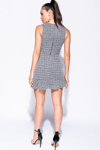 Black Boucle Check Pearl Button Trim Shift Dress - Parisian-uk