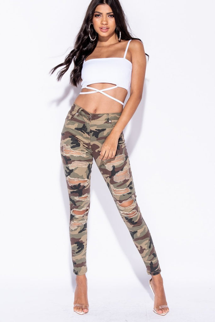 Image: Camouflage Distressed Skinny Jeans - Parisian-uk