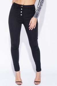 Black Button Fly Detail High Waisted Skinny Jeans - Parisian-uk