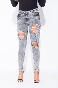 Light Grey Acid Distressed Front Rip Skinny Jeans