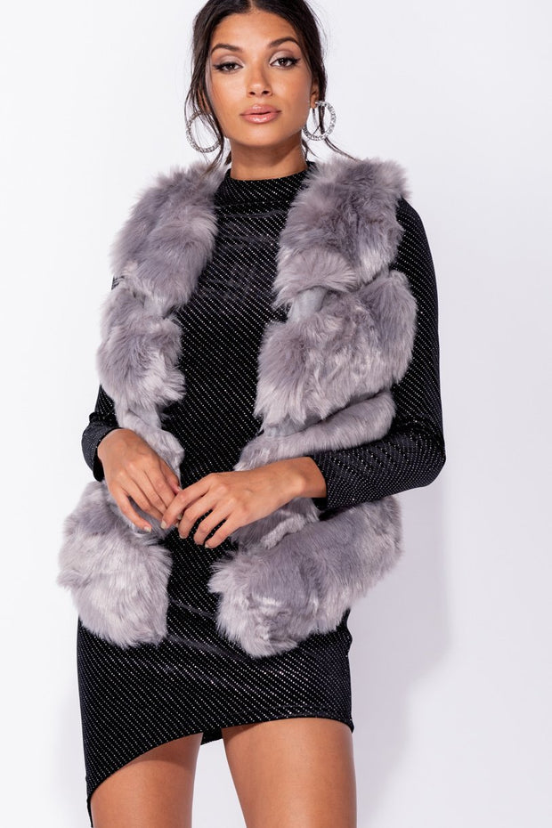 Image: Grey Faux Fur Sleeveless Collarless Gilet - Parisian-uk