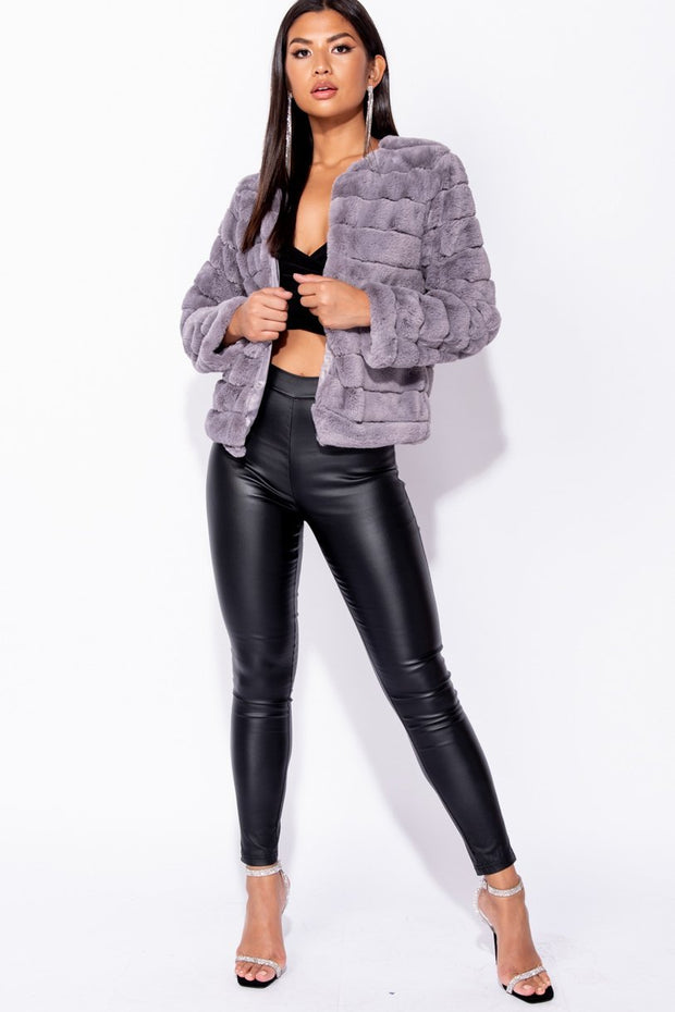 Image: Grey Faux Fur Edge To Edge Collarless Jacket - Parisian-uk