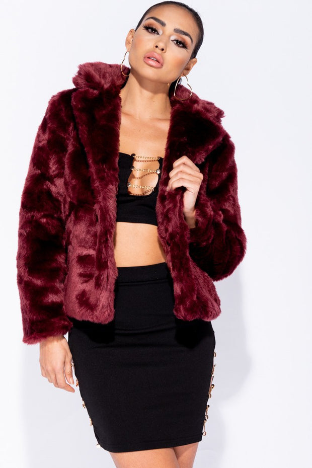 Image: Wine Faux Fur Edge To Edge Jacket