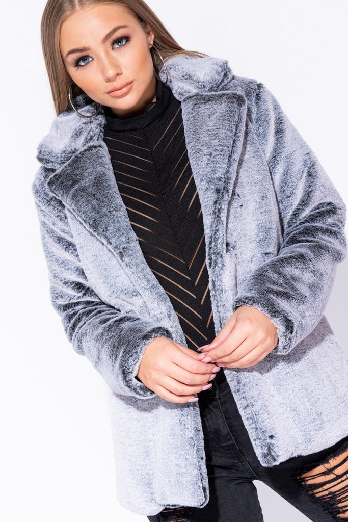 Dark Grey Faux Fur Short Coat - Parisian-uk