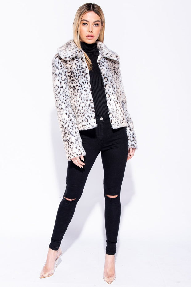 Image: Beige Leopard Print Oversized Collar Faux Fur Jacket - Parisian-uk