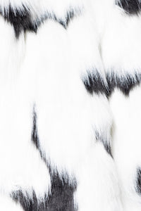 White Black Multi Colour Edge To Edge Long Fur Coat
