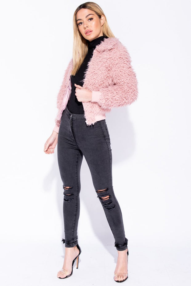 Image: Pink Teddy Bear Fur Zip Front Bomber Jacket