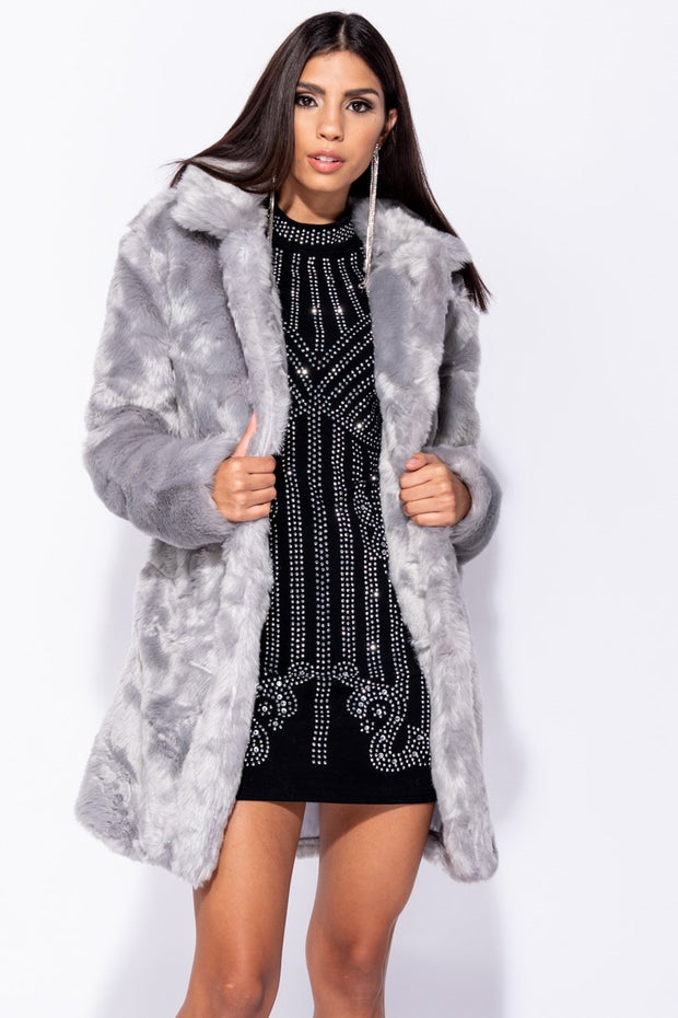 Image: Light Grey Mid Length Faux Fur Coat
