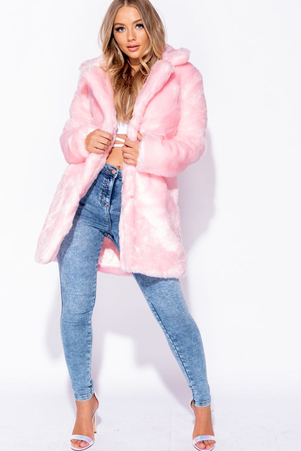 Image: Light Pink Mid Length Faux Fur Coat