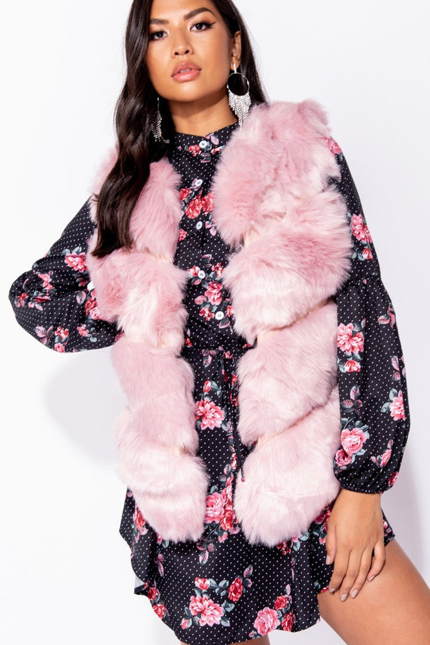 Image: Pink Faux Fur Sleeveless Collarless Gilet