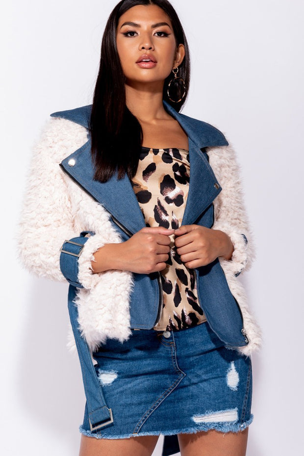 Image: Nude Faux Fur Buckle Detail Denim Biker Jacket