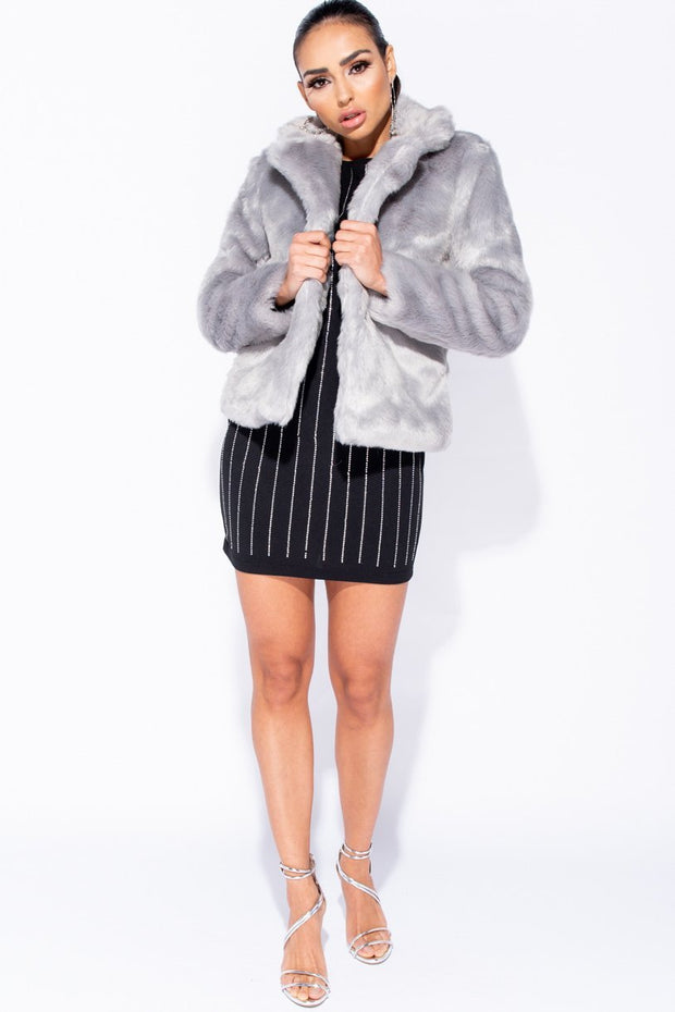 Image: Grey Faux Fur Edge To Edge Jacket