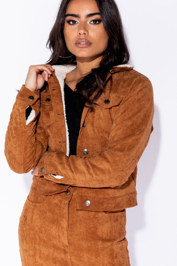 Rust Baby Card Shearling Lined Trucker Jacket